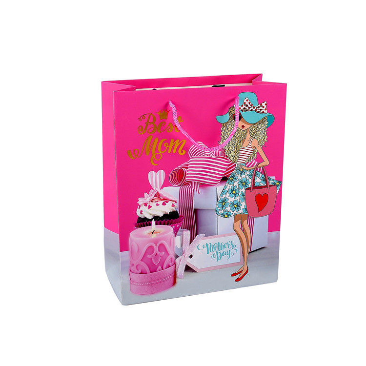 New Developed Custom Portable Shopping Pink Gift Packing Paper Bag With Logo Printing