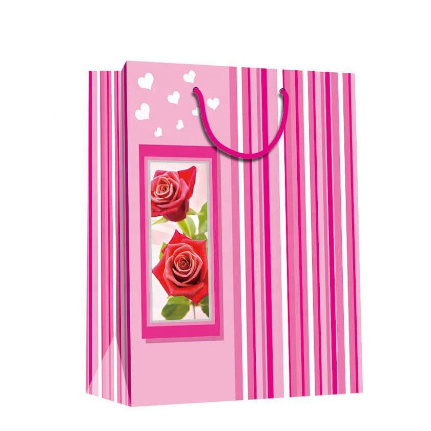 Wholesale Handmade Elegant Printing Pink Decorative Door Paper Gift Bags For Shopping