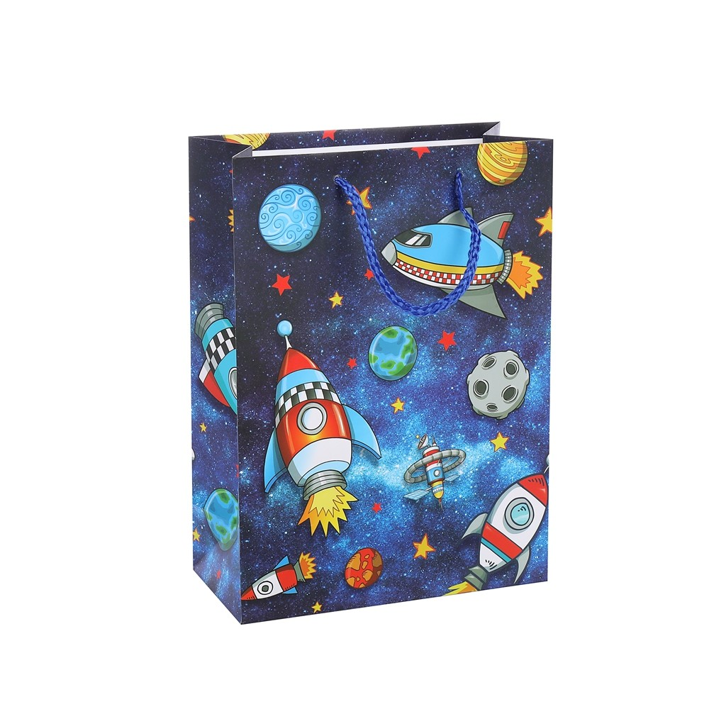 Customized Print Recyclable Storage Gift Blue Shopping Paper Bag With PP Rope Handles