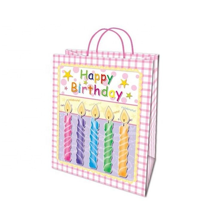 Custom Small Grid Attractive Offset Printing Gift Paper Bags With Pink Drawstring