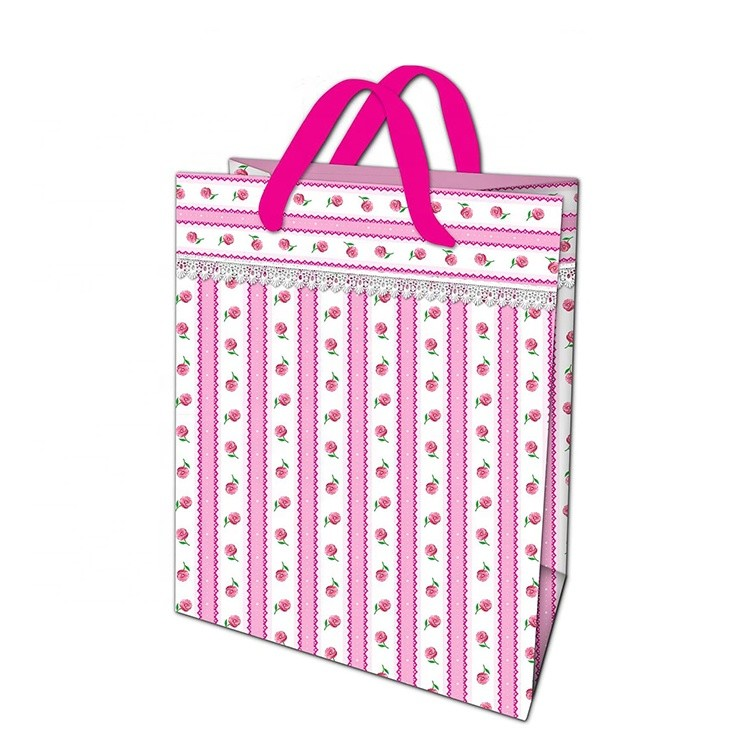 New Durable Lovely Printing Pink Elegant Shopping Paper Gift Bag With Ribbon Handles