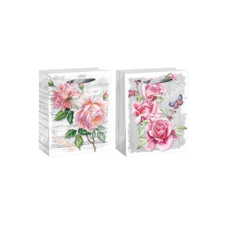 Good quality workmanship paper gift bag custom logo flower print elegant paper bag