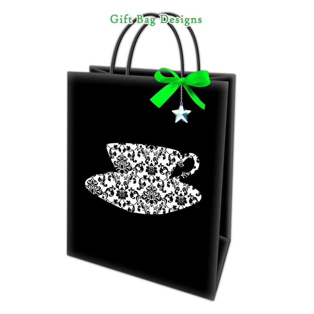 Low Price Retail Delicate Decorative Pattern Waterproof Paper Hand Bags With Green Bowknot