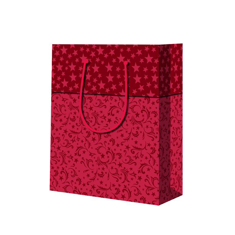 Foldable Double Handle Durable Red Fancy Square Bottom Paper Hand Bags