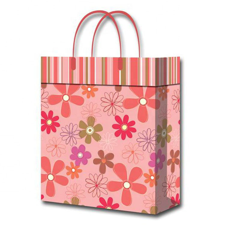 Wholesale Custom Flower Printed Eco-friendly Baby Shower Pink Gift Paper Bags With Handles