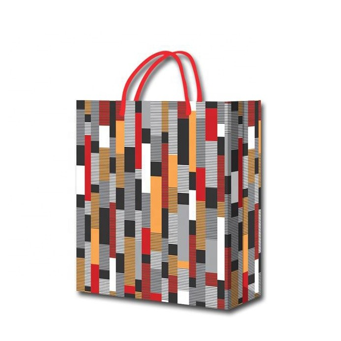 Hot Sale Custom Fashion Simple Stripe Eco-friendly Shopping Paper Gift Bags For Clothes