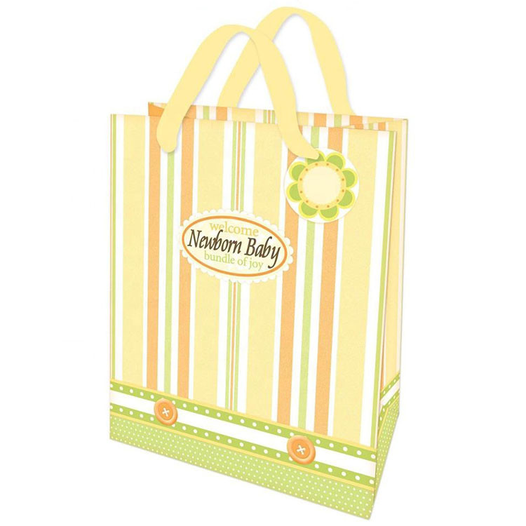 New Design Foldable Yellow Shopping Bags High Quality Lovely Kraft Paper Bags