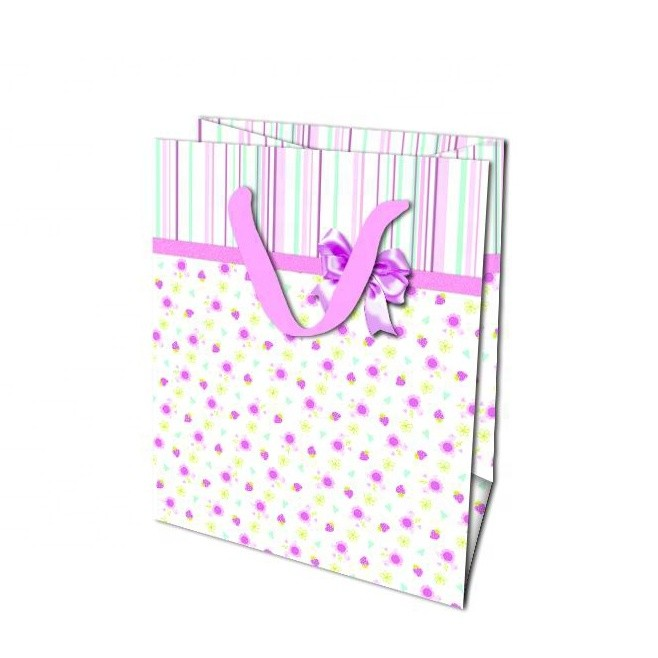 Wholesale Eco-friendly Custom Print Tote Carrier Paper Gift Bag For Baby Shower, Wedding Gift Bag