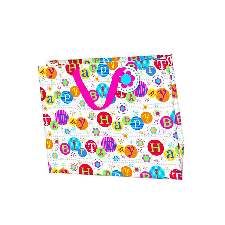 New Style White Square Bottom Accurate Christmas Birthday Paper Bag With Character