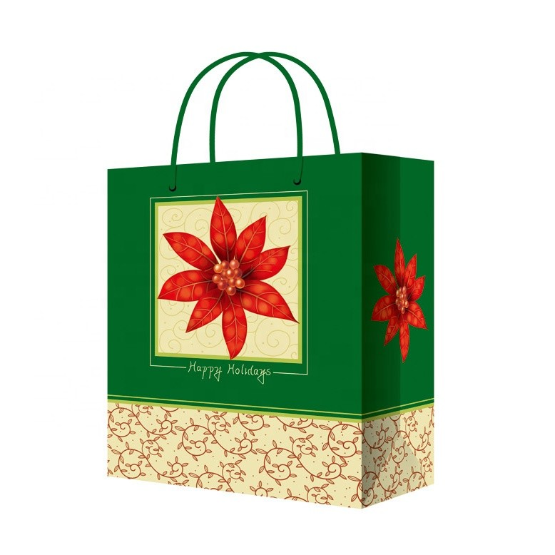 Wholesale Customized Print Durable Christmas Paper Bags With Rope Handles