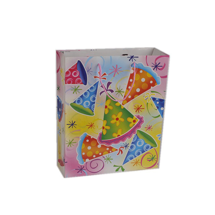 Wholesale Nice Cute Durable Printing Hats Paper Shopping Gift Paper Bag With Rope Handle