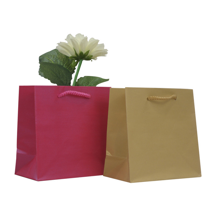 OEM Accepted Solid Colored Kraft Paper Bag With Handle For Shopping