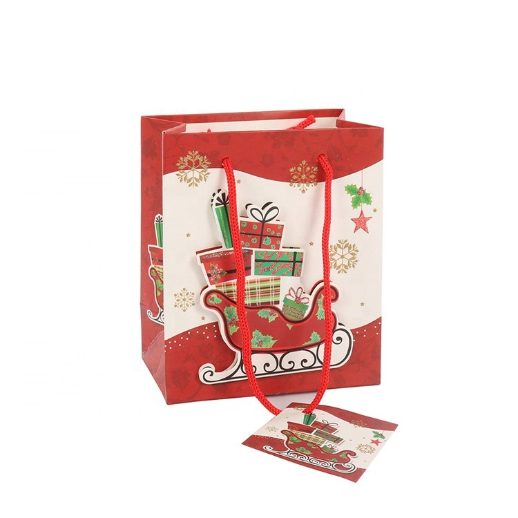Promotional Custom High Quality Eco-friendly Fashion Fancy Christmas Paper Gift Bags With Rope Handles