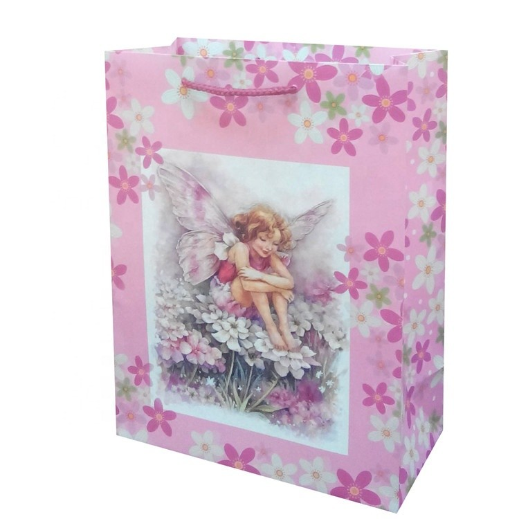 New Fashion Floral Cartoon Characters Gift Paper Bag With Pink Hand Length Handle