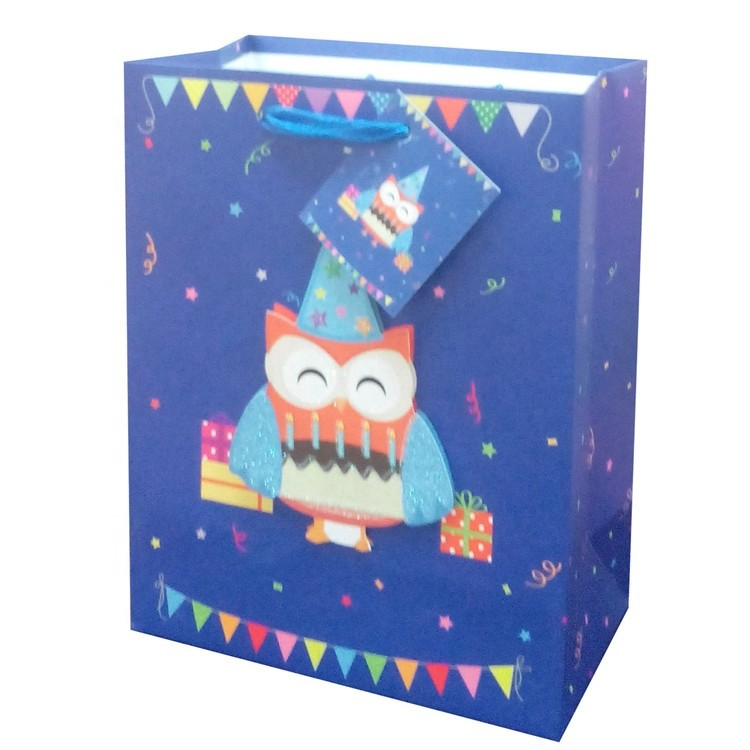 Classic Different Colors Deep Blue Eco-friendly Offset Printing Paper Gift Bags For Birthday Party