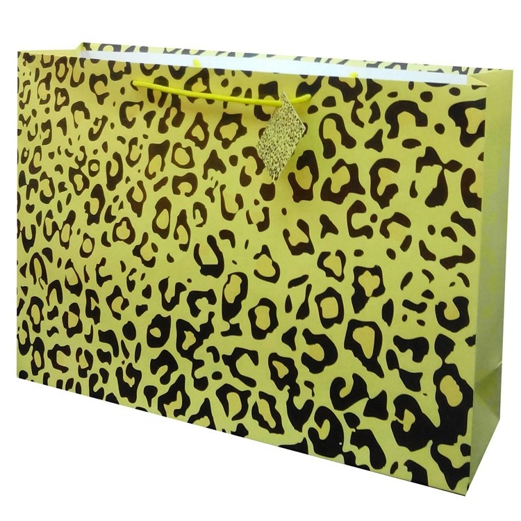 Wholesale Leopard Printed Paper Gift Bag With Hang Tag