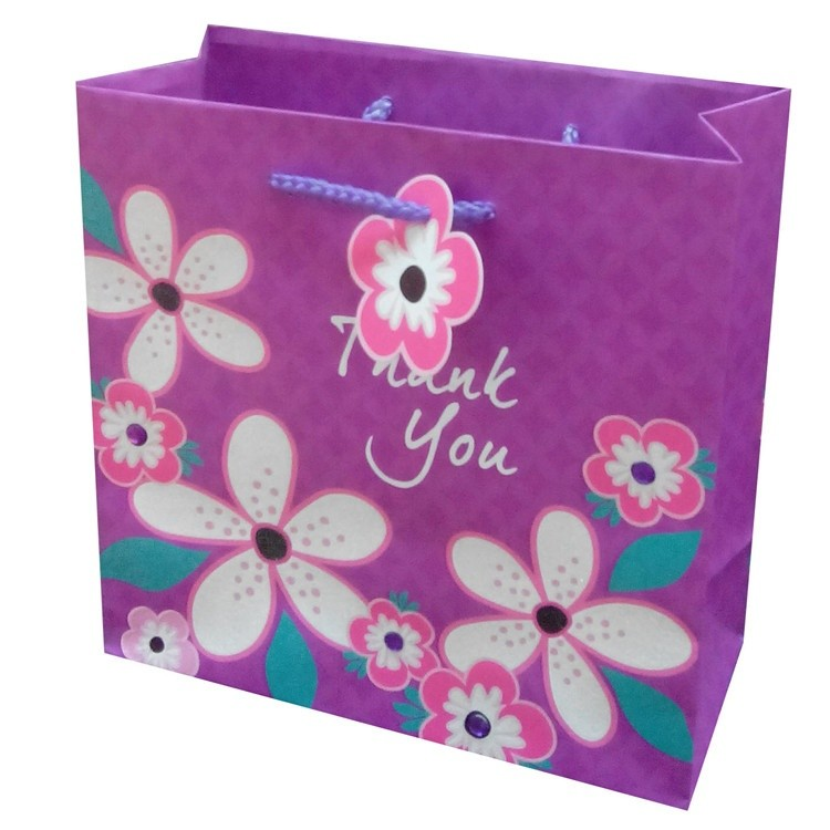Beautiful Flower Print Reusable Durable Party Gift Paper Bag With Rope Handles