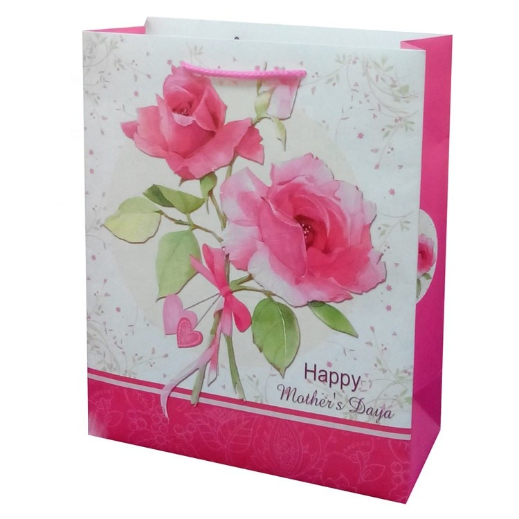 Hot Sale Rectangle Printing Rose White Kraft Paper Bags Grocery Bags For Shopping