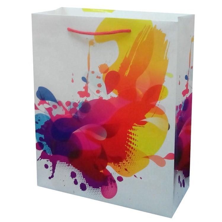 Hot Sale Reusable Durable Handmade Colorful Kraft Christmas Paper Bag With Handles