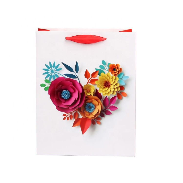 2018 Hot Sale Custom New Design Handmade Colorful 3D Flowers Eco-friendly Fancy Shopping Paper Tote Bags With Rope Handles