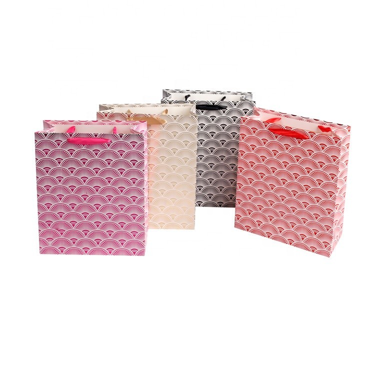Eco-friendly Fancy Paper Shopping Bags With Ribbon Handles