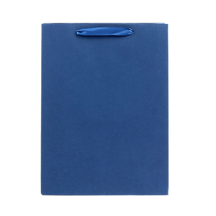 Hot Sale Plain Printed Handmade Blue Small Kraft Square Paper Shopping Bag With Handles