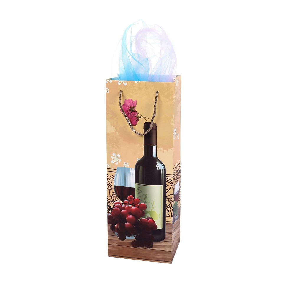 Wholesale Portable Personalized Design Stripe Wine Gift Paper Bag With Rope Handle