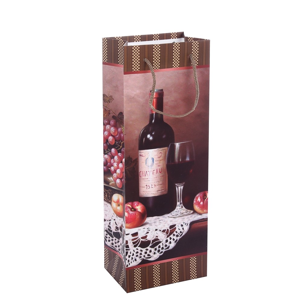 Hot Sale Rectangle Printing Wine Brown Kraft Paper Bags With Rope Handle