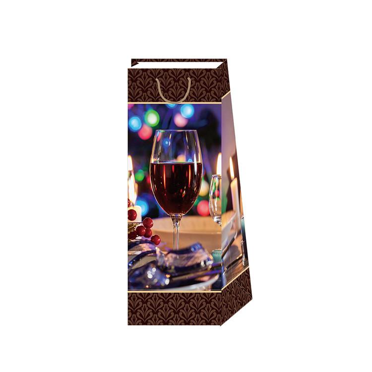 Wholesale Custom Logo Printing Reusable Fancy Wine Gift Bag With PP Rope Handles