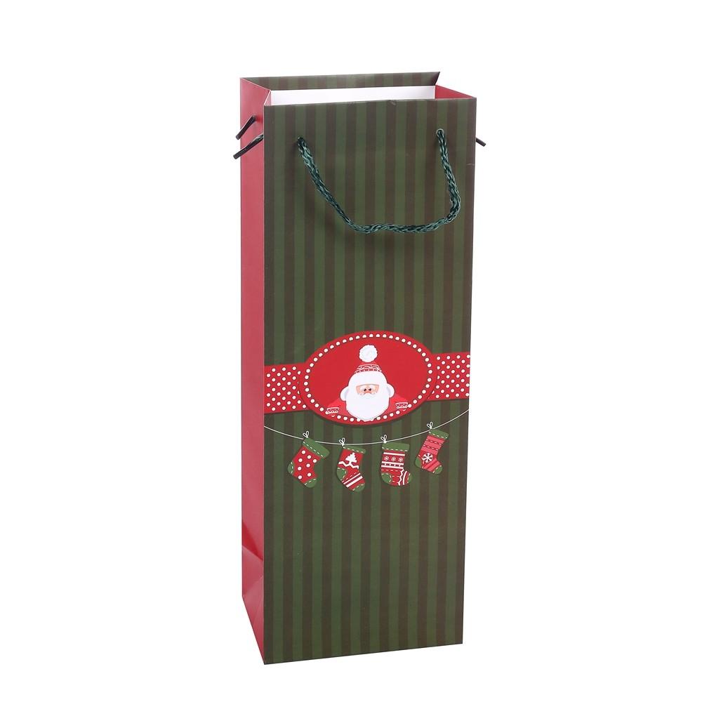 Simple Decoration Stripe Printing Santa Claus Christmas Stocking Kraft Paper Wrapping Wine Bag