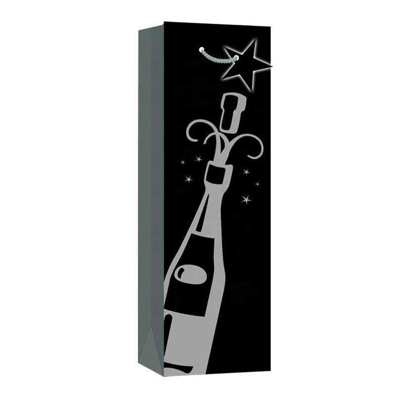 2019 Wholesale Top Retail LuxuryBlack Kraft Wine Gift Paper Bags