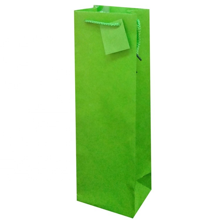 Custom Printing Green Solid Color Party Gift Wine Bottle Paper Bags