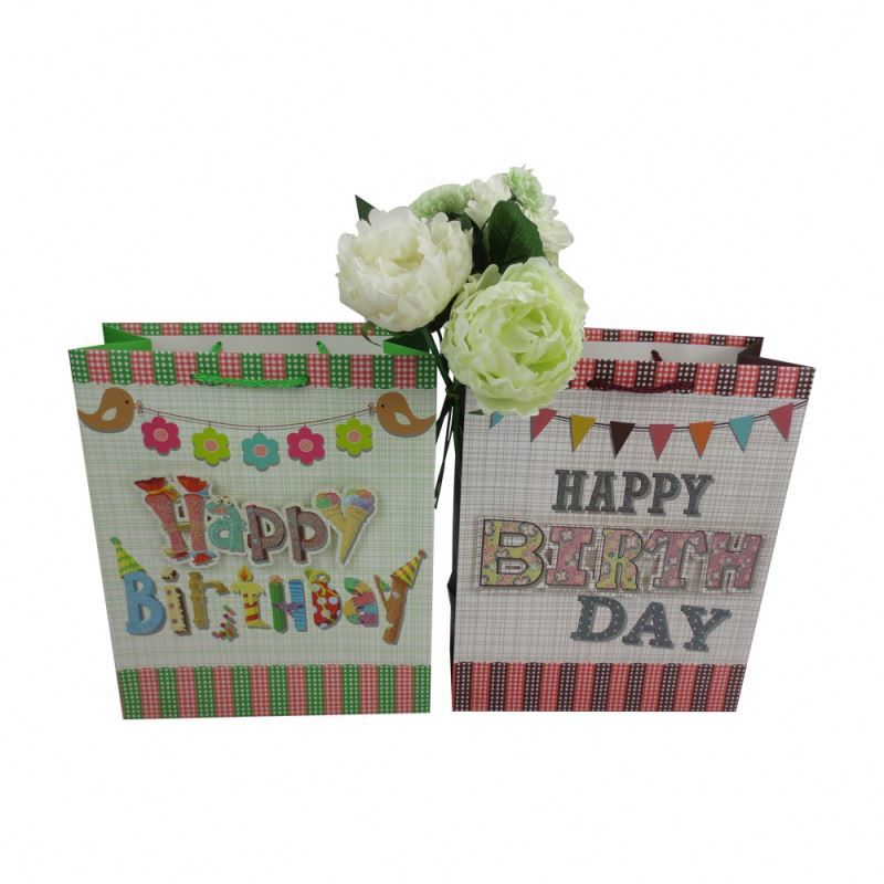 Hot selling workmanship 3d lovely pattern recycled birthday gift paper bag