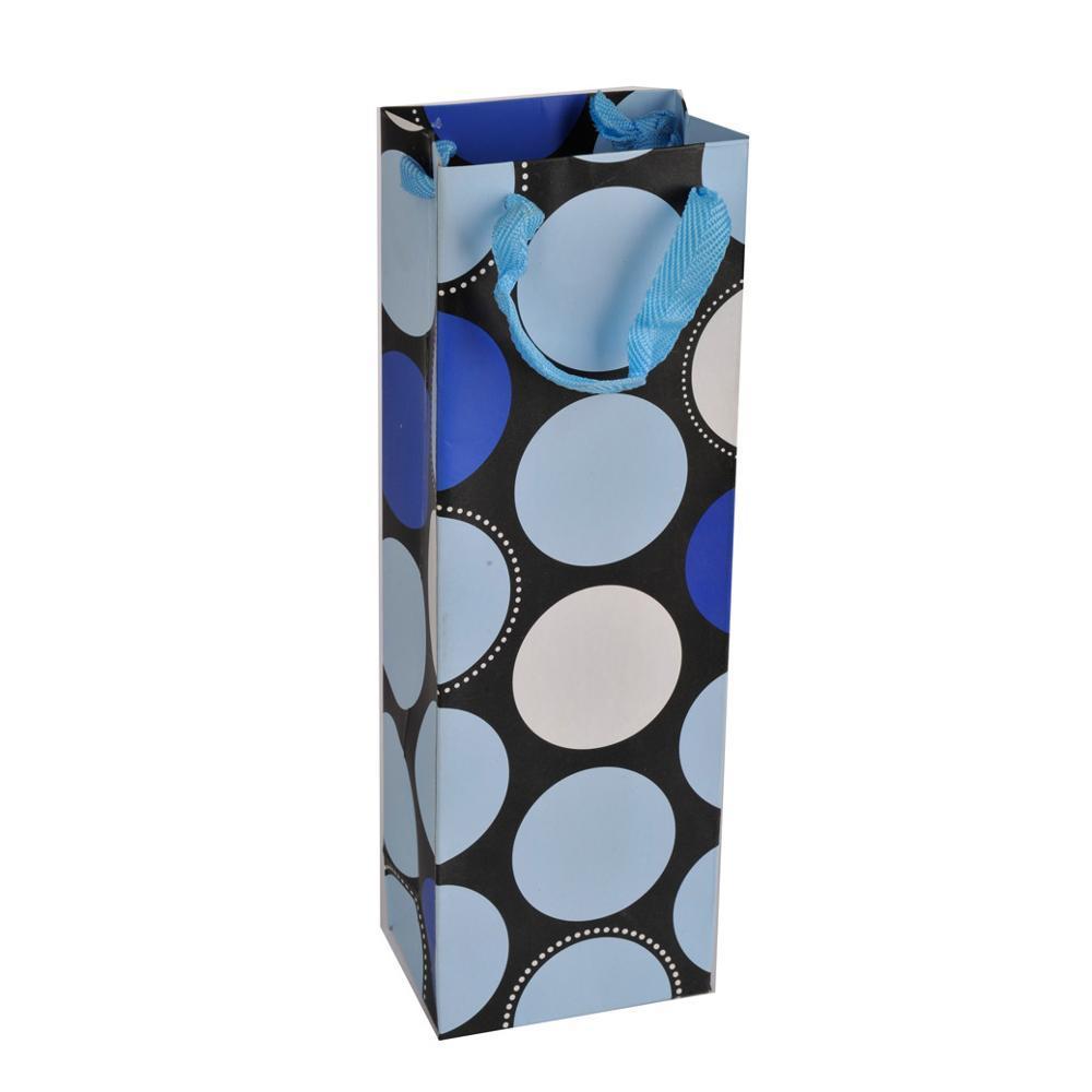 Wholesale Fancy Luxury Gift Packaging Custom Printed Bottle Paper Wine Bags with Handles