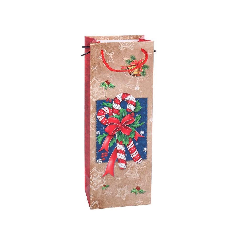 New Products Fashionable Reusable Printing Cartoon Hand Kraft Paper Wine Bag With Rope Handle