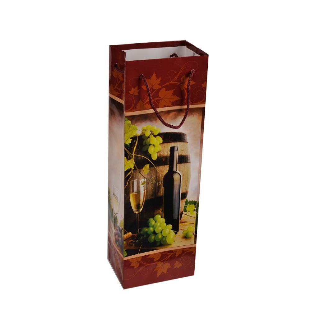 Custom Logo Single Bottle Package Wine Promotion Paper Gift Bag