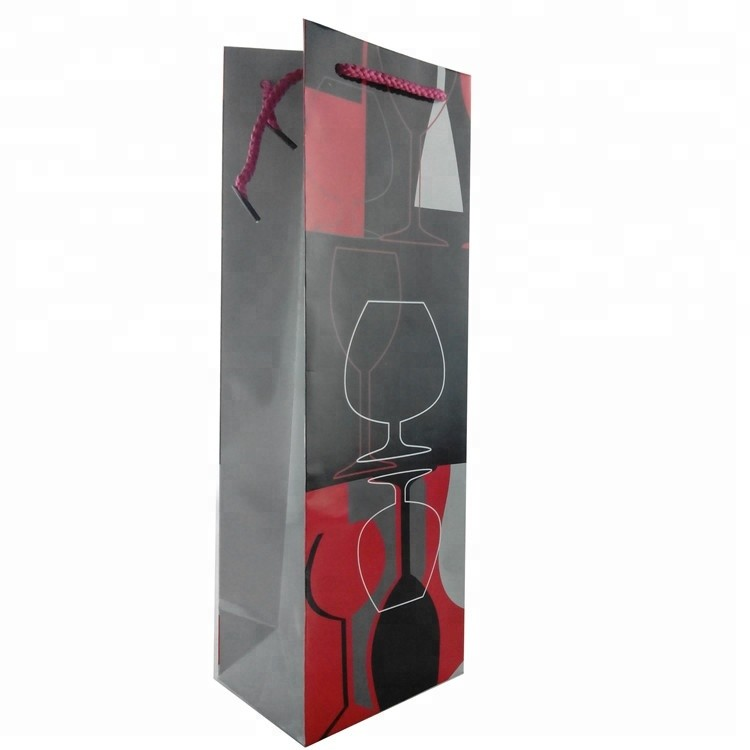 Custom Logo Printed Recyclable Shopping Paper Bag Paper Wine Bottle Gift Bag