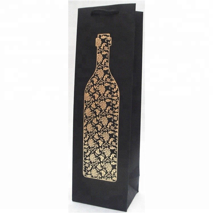 Luxury Recycled Customized Wine Paper Bag With Custom Logo, Wine Paper Bottle bag