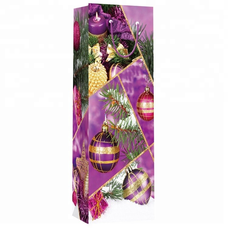 Premium Quality Christmas Custom Printing Decorative Paper Wine Bag, Gift Packaging Paper Bags
