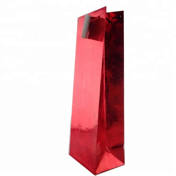Eco-friendly Custom Printing Paper Wine Bag With Hand Length Handle, Christmas Red Gift Bags