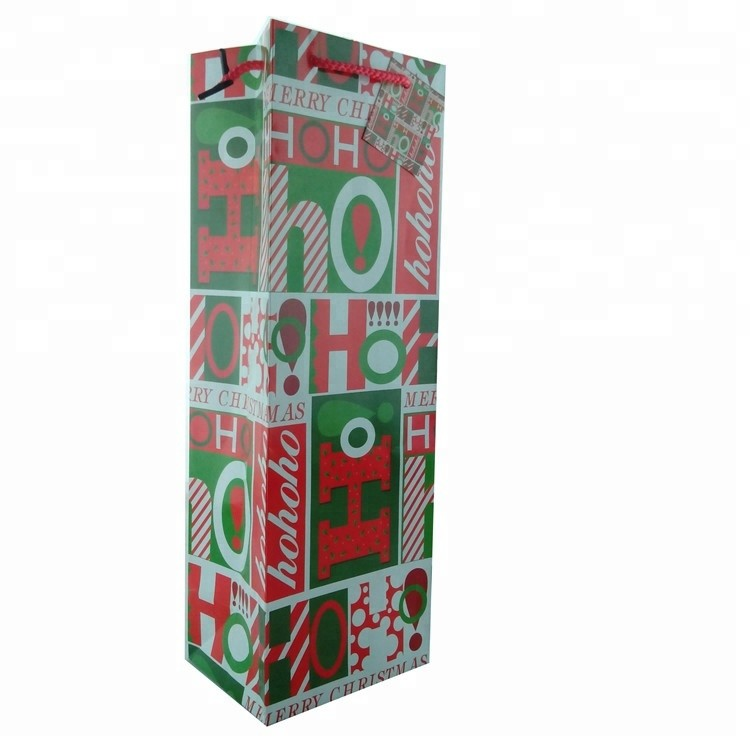 Recyclable Personalized Design Christmas Paper Wine Bag, Paper Gift Packaging Tote Bags