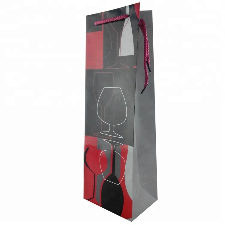 High Quality Recycle Stripe Paper Wine Packaging Bag With Logo Printed, Wine Paper Gift Bags