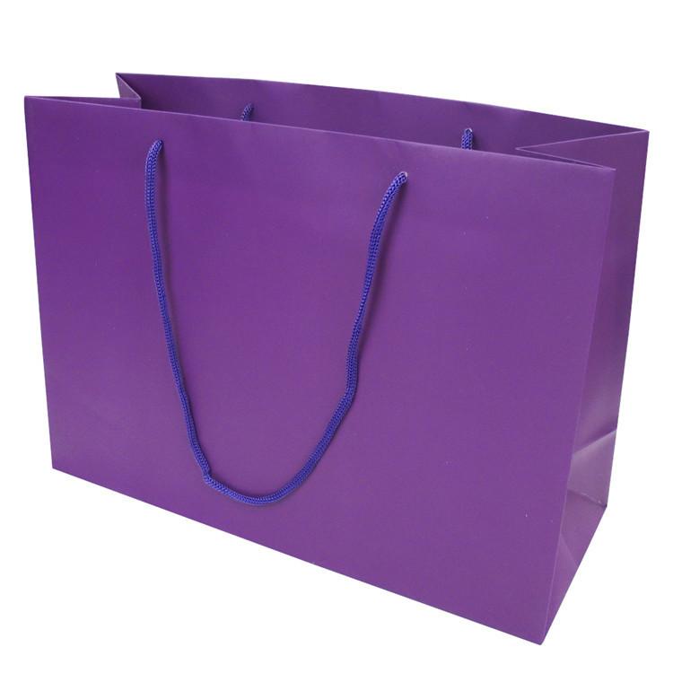 New Design Matt Lamination Purple Craft Custom Kraft Paper Bag Gift Paper Shopping Bag With Handle