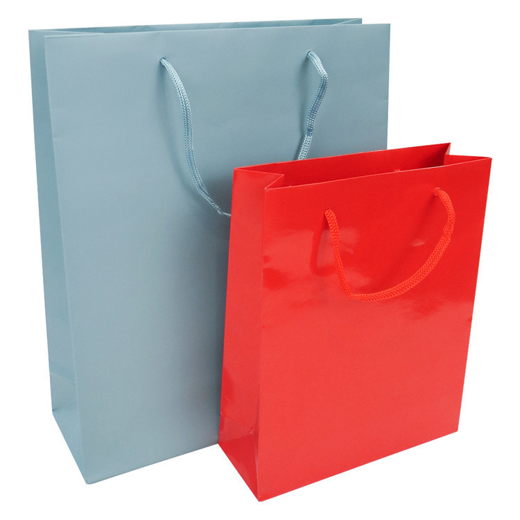 Custom dumb bright film recycled cheap solid color kraft gift shopping paper bag with handle