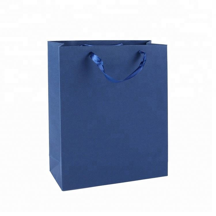 Promotion Cheap Custom Print Wide Bottom Eco-friendly Luxury Blue Color Paper Packaging Bags