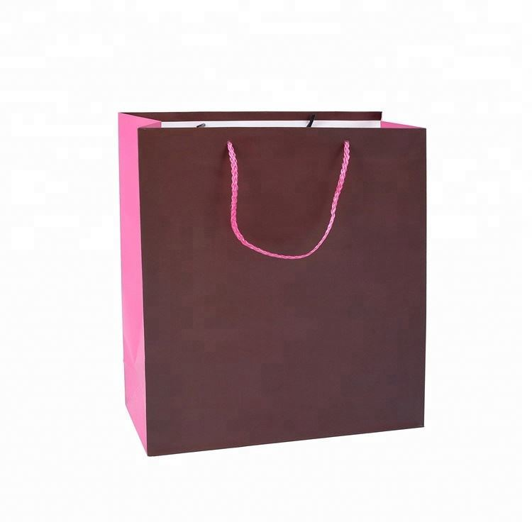 Wholesale Cheap Personalized Solid Color Packaging Shopping Bottom Rectangular Paper Bag With Rope Handles