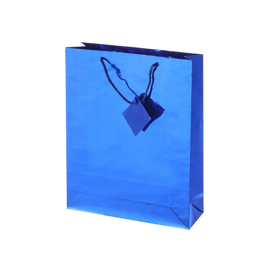 Eco-friendly Promotion Blue Customized Design Packing Laser Film Paper Gift Bag With Custom Logo