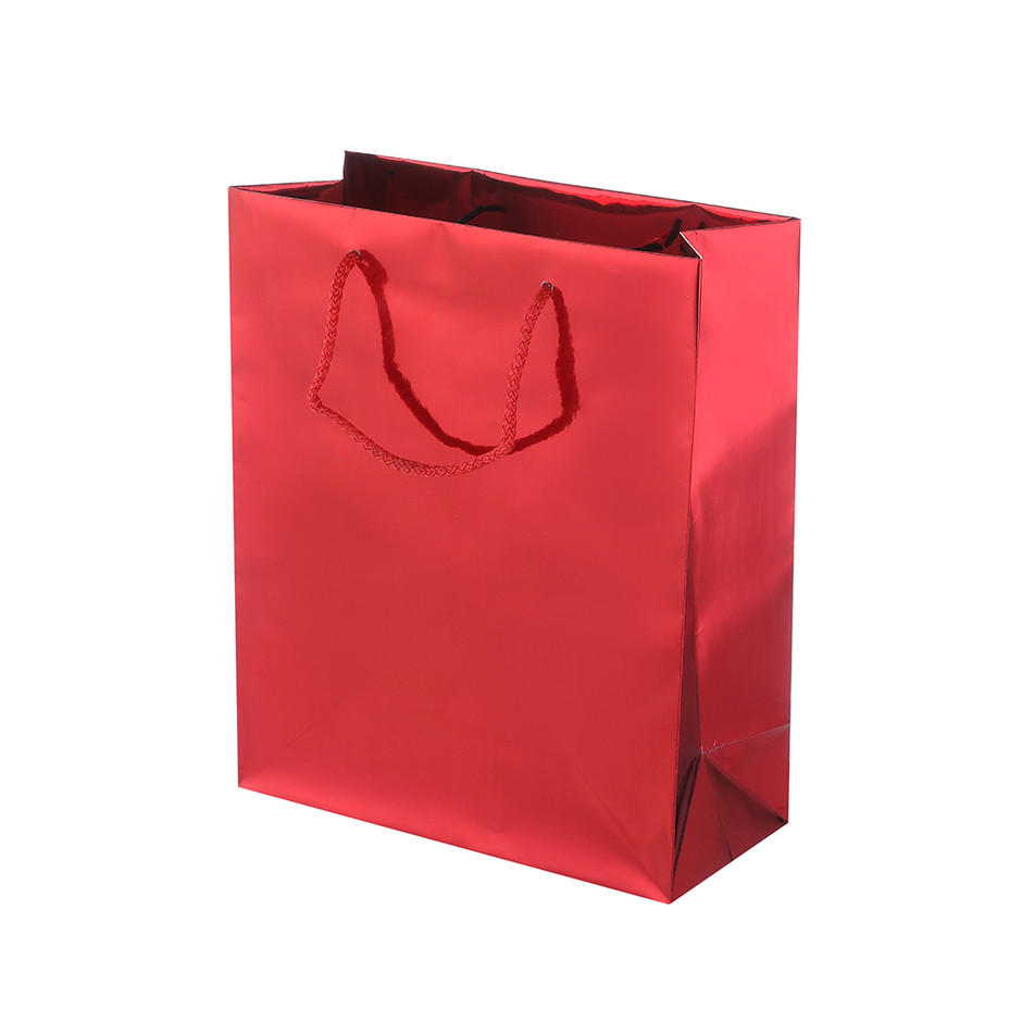 Eco- Friendly Practical Recycle Red Solid Paper Bag With Handles For Gift Decorative Christmas Gift Bags