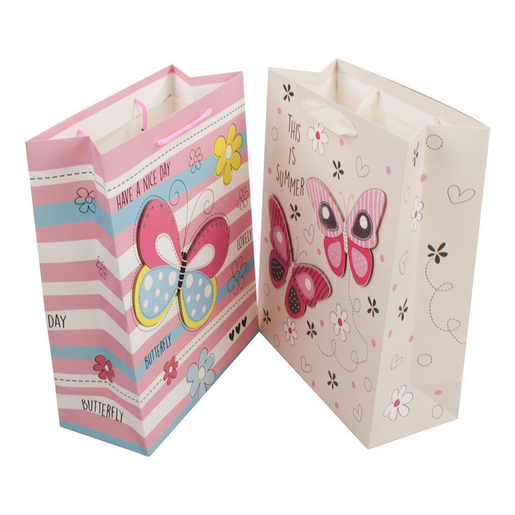 Professional made 3D made paper bag eco friendly paper bags with rope handles
