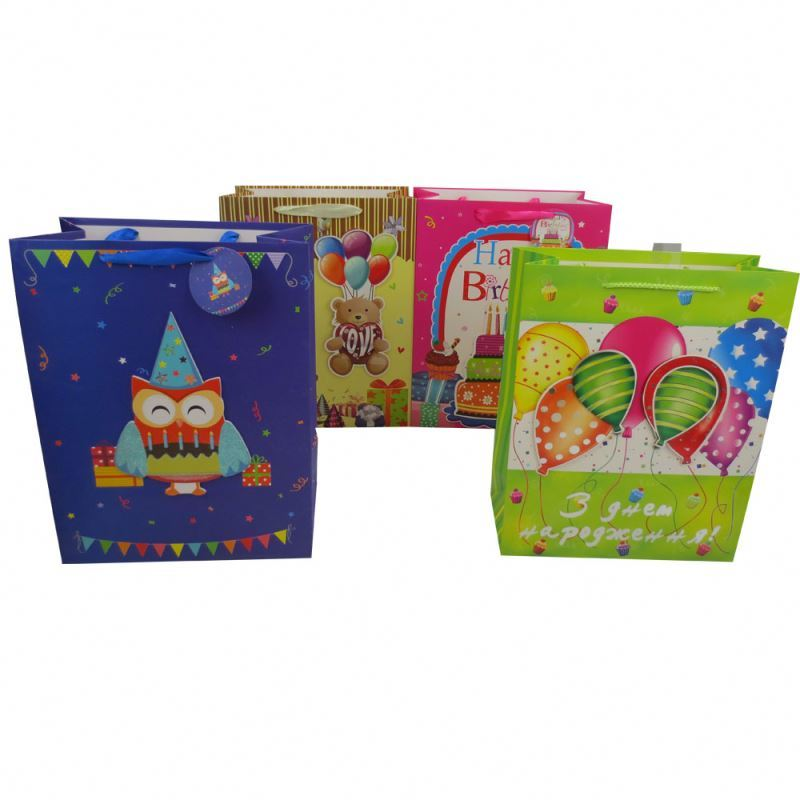 Latest arrival paper birthday gift bag fashionable shopping dusting craft paper bag
